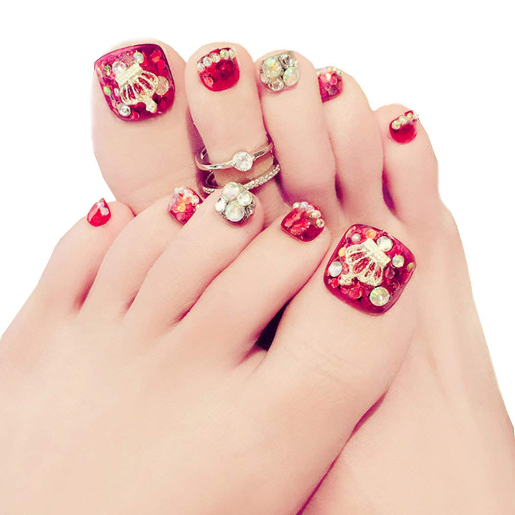 Kakaco 24Pcs Rhinestone Fake Toenails Crown Short Full Cover Acrylic Red Fake Toe Nails Giltter Art Tips for Women and Girls
