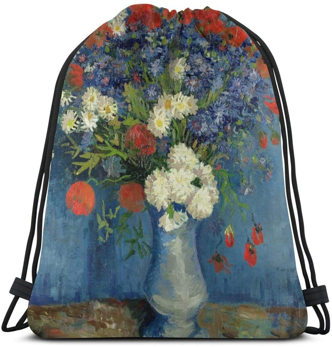Backpack Drawstring Bags Cinch Sack String Bag Van Gogh Vase With Cornflowers And Poppies Sackpack For Beach Sport Gym Travel Yoga Camping Shopping School Hiking Men Women