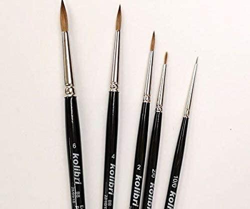 Brush Round Natural Marten Size 2/0, Kolibri, Round Brushes, Art Supplies