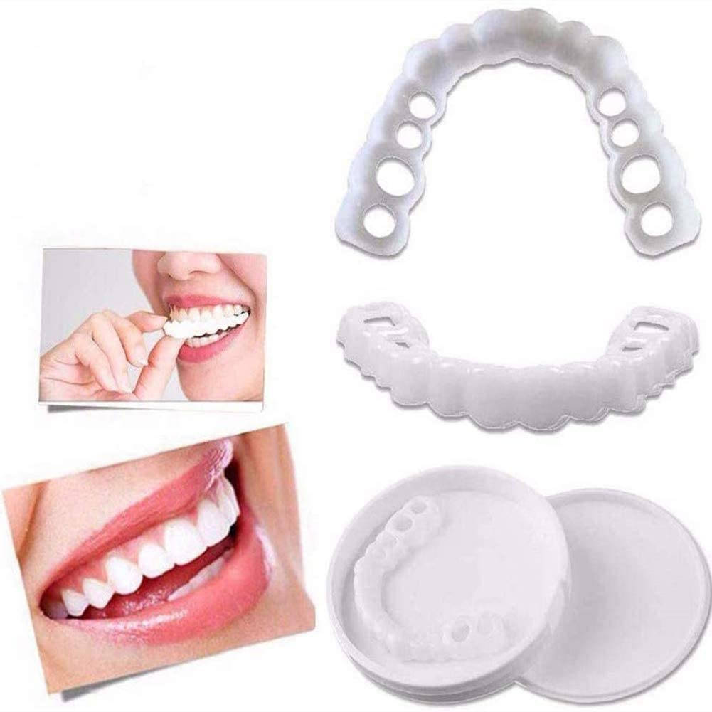 3 Pairs Simulation Teeth Instant Perfect Smile Veneers Professional Cosmetic Teeth Top and Bottom Temporary Fake Teeth Removable False Tooth Braces Simulation for Men Women
