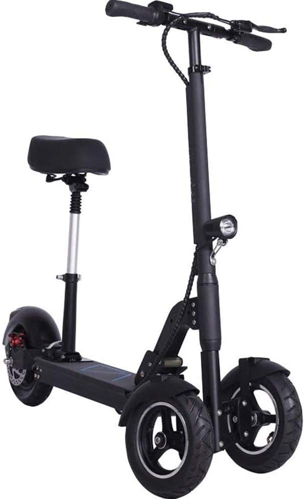 CHENJIU Electric Scooter Adults Folding Commute City Scooter Front and Rear Disc Brake LCD Display LED Headlights Remote Anti-Theft 48V 500W Brushless Motor