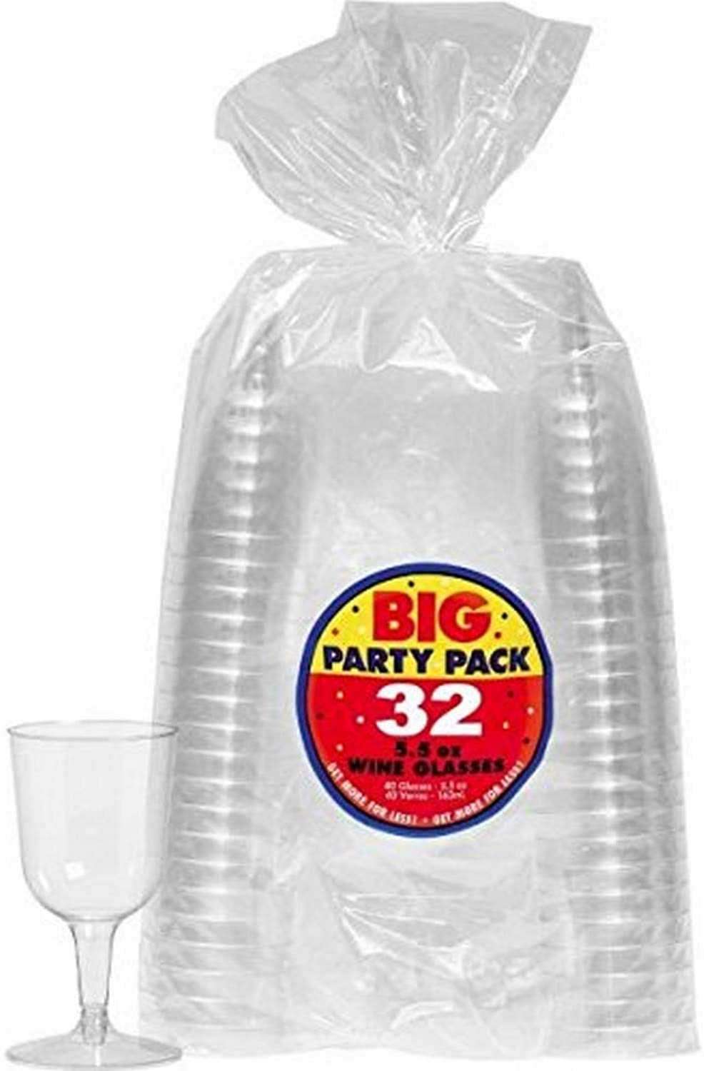 Amscan Big Party Pack Clear Plastic Wine Glasses, 5.5 oz (32