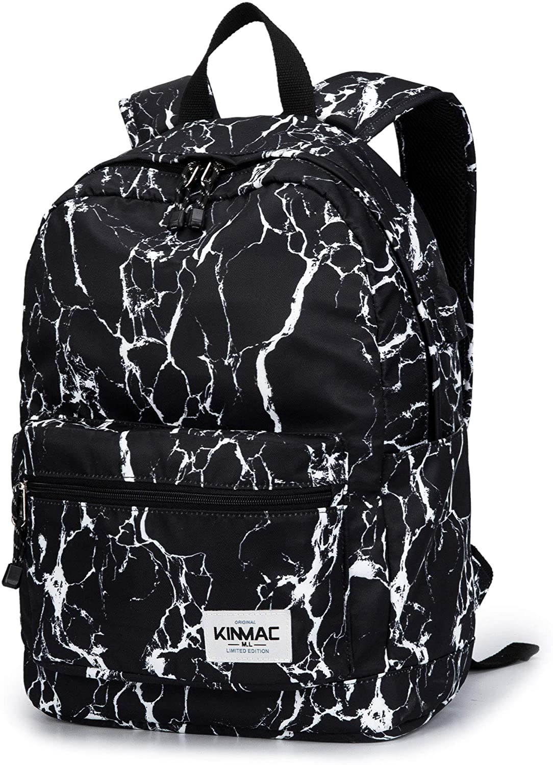 Kinmac Waterproof Laptop Travel Outdoor Backpack with USB Charging Port for 13 inch 14 inch and 15.6 inch Laptop (Black Marble)