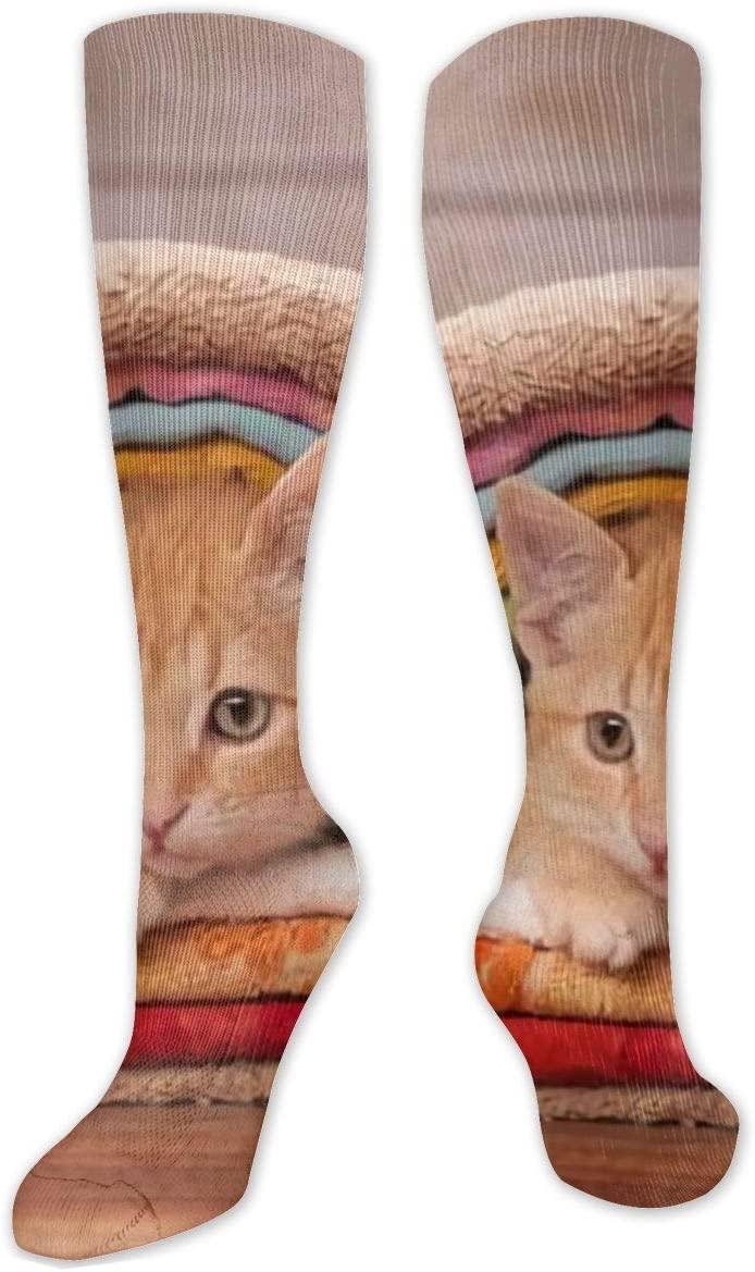 Compression Sock for Women & Men,Orange Kitten Nested Under CasualLongKneeHighTubeSocksforRunnning,SoccerAthleticSports,Travel-50cm