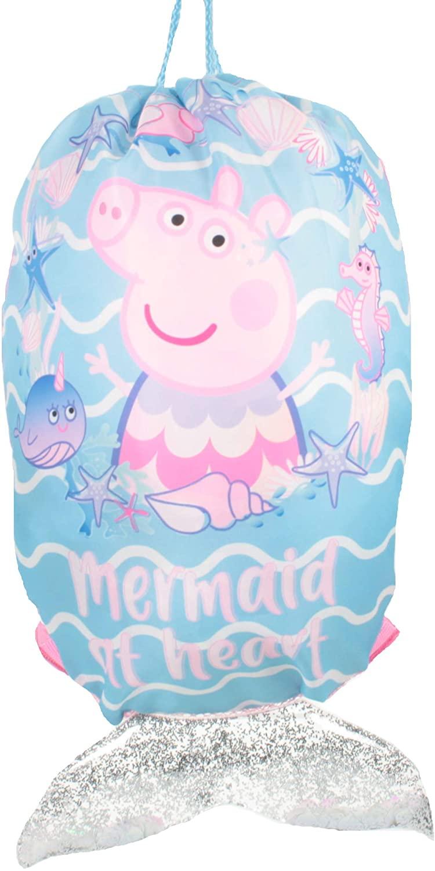 Peppa Pig Mermaid At Heart Symbol Drawstring Sports Trainer Bag Pink