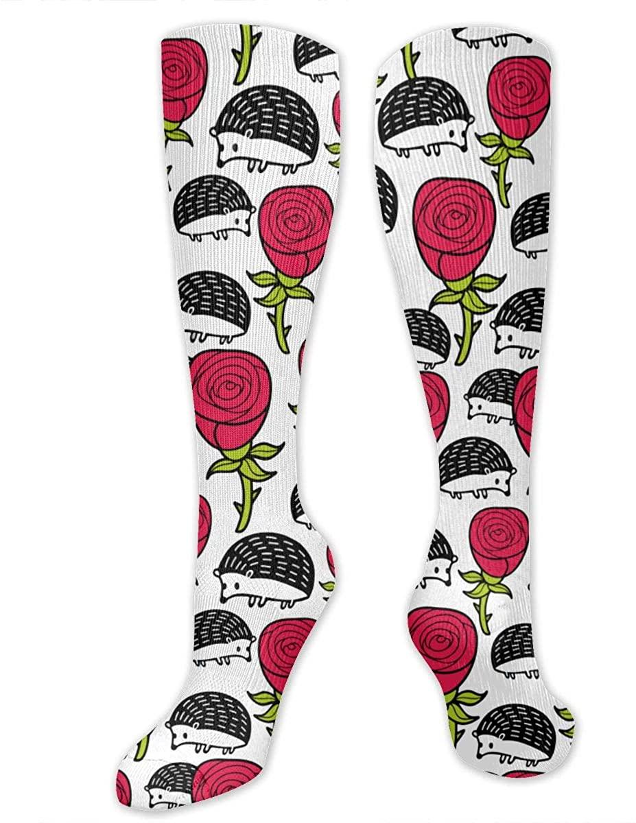 Hedgehog And Rose Athletic Socks Thigh Stockings Over Knee Leg High Socks