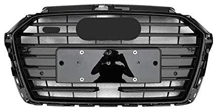 ASDZ Black Bumper Grille with Acc Hole Car Front Bumper Grill Mesh Hood Front Center Middle Grille for Audi A3/S3 2017-2019 Car Mesh Racing Grills (Color : Chrome Emblem)