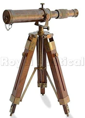 Royal Handicraft Nautical Brass Antique Telescope Spyglass with Wooden Stand Home Decor Gift (Antique Finish)