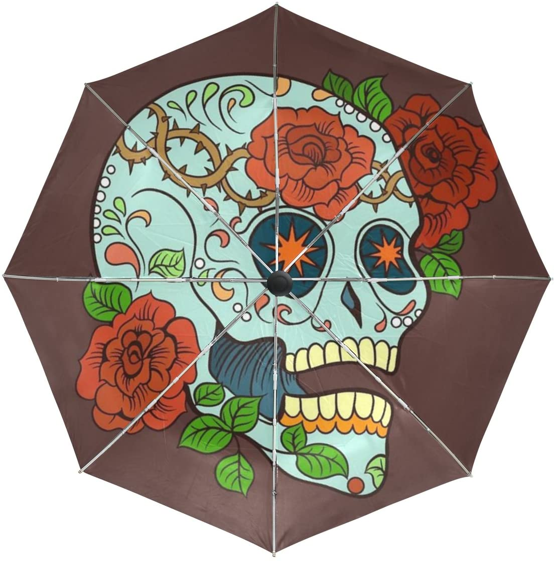 Vipsk Automatic Umbrellas, Windproof Lightweight Windproof Anti Color Skull Rose Compact Folding Umbrellas with Anti-Slip Rubberized Grip, for Business and Travels or Summer Gifts