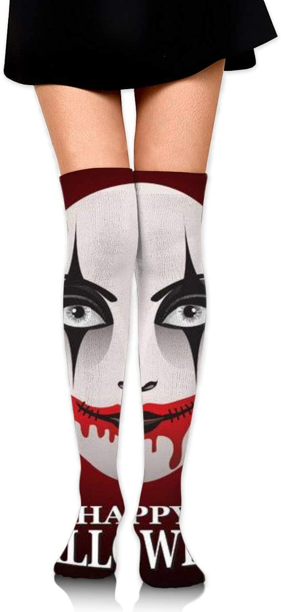 Woman in Day of The Dead Mask Ghost Face Art.Womens Over Knee Thigh Socks Girl High Stockings 65 Cm/25.6In