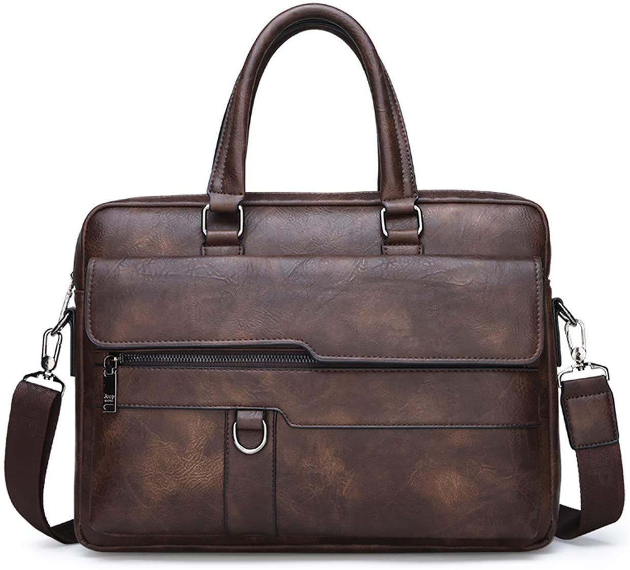 JEEP BULUO Men Business Briefcase Leather Bag 13.3 inch Laptop Case(Brown)