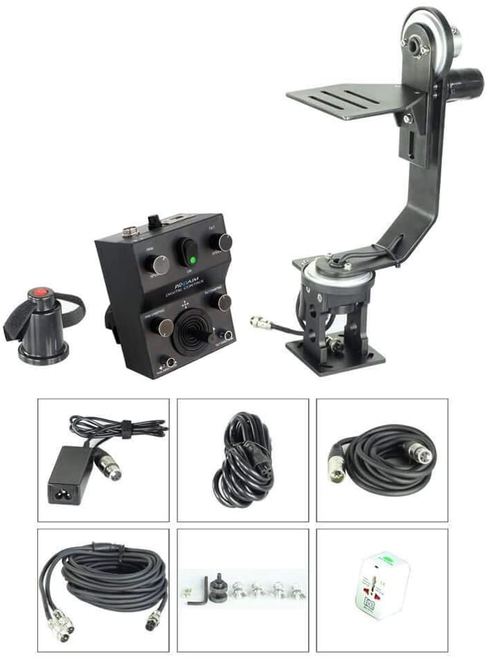 Proaim Professional Motorized Jr. Pan Tilt Head with 12V Joystick Control for DSLR Video Cameras Camcorders up to 6kg/13.2lb for Jib Crane Tripod + Carrying Bag (PT-JR)