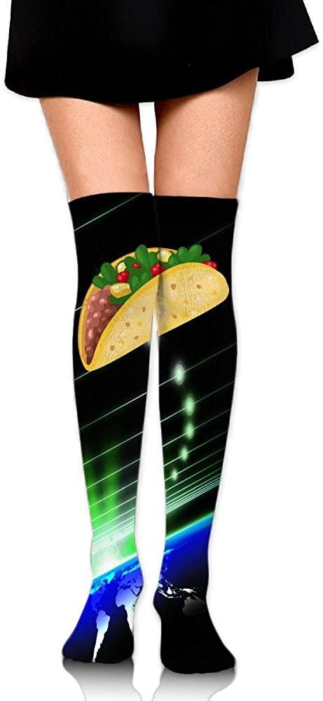 Womens Knee High Socks Tacos Winter Warm Thigh High Long Stockings