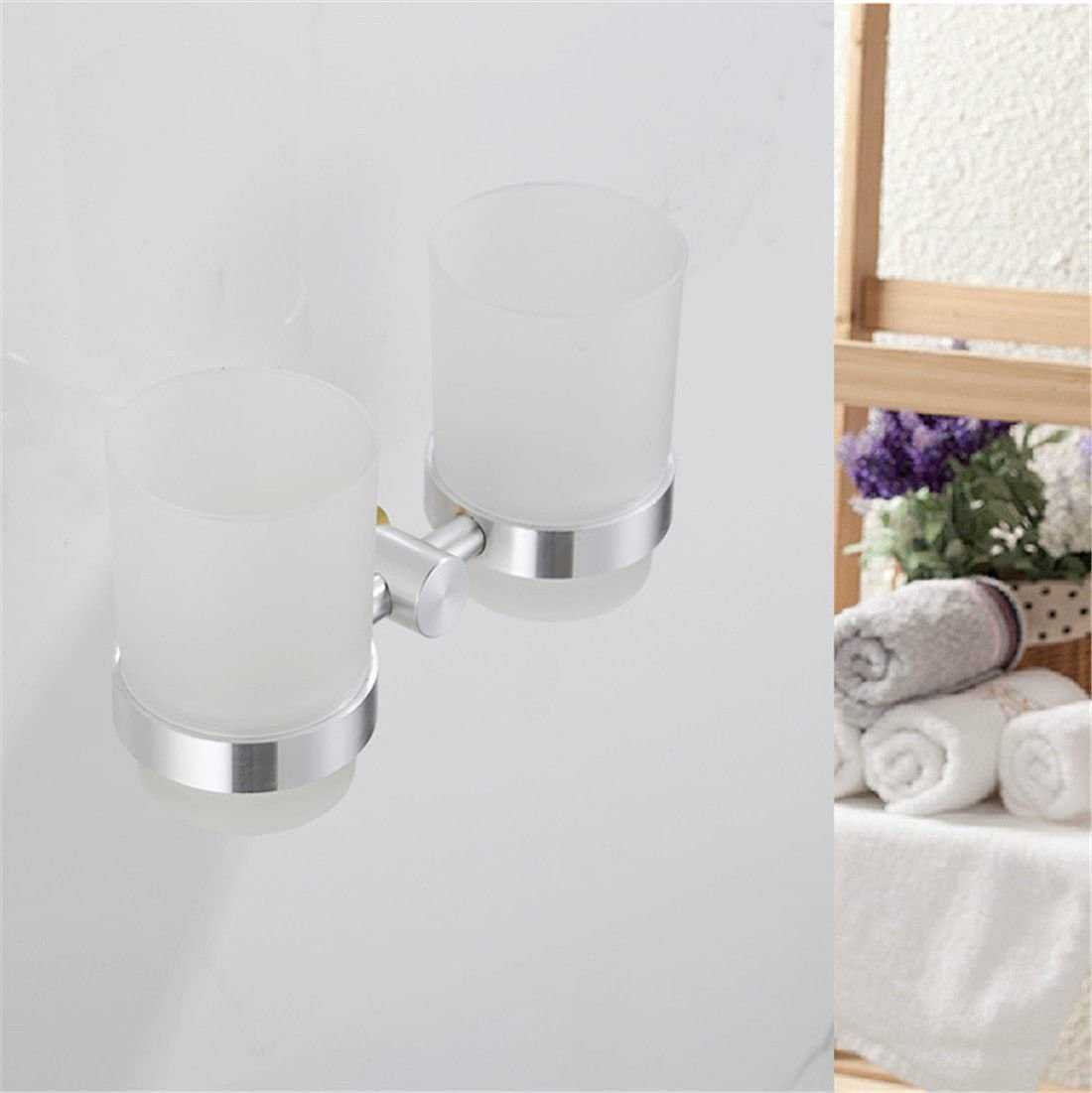 AiRobin-Continental Brushed Space Aluminum Wall Mounted Toothbrush Cup Holder Bathroom Accessory