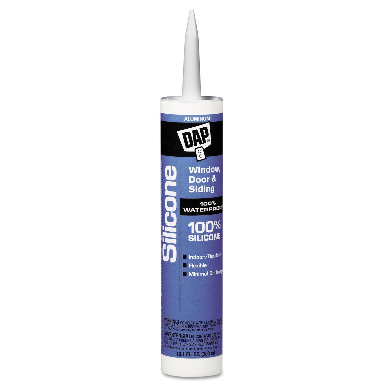 DAP 08643 Aluminum All-Purpose 100% Silicone Rubber Sealants, 10.1 oz, Tube (Pack of 12)