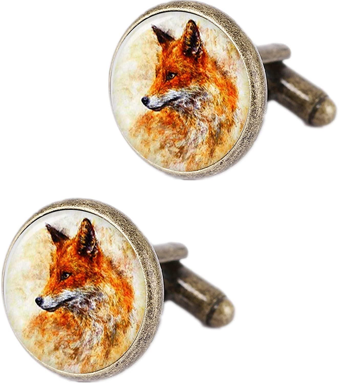 Kooer Vintage Fox or Peacock Cufflinks Personalized Fox Bronze Cuff Links for Dad Boy Friend Father Husband