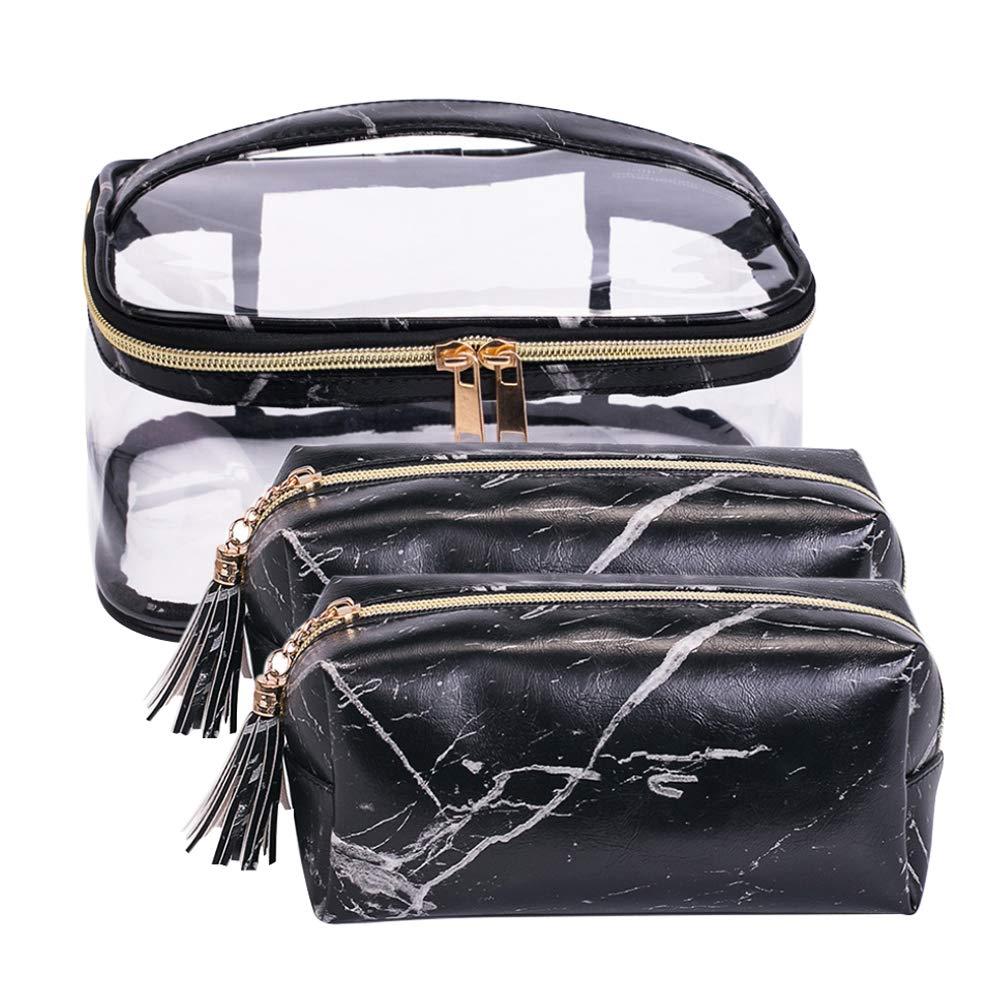 Waterproof PVC Cosmetic Vanity Bag with Metal Zipper Set of 3pcs Storage for Travel Toiletries Makeup (Black Set)