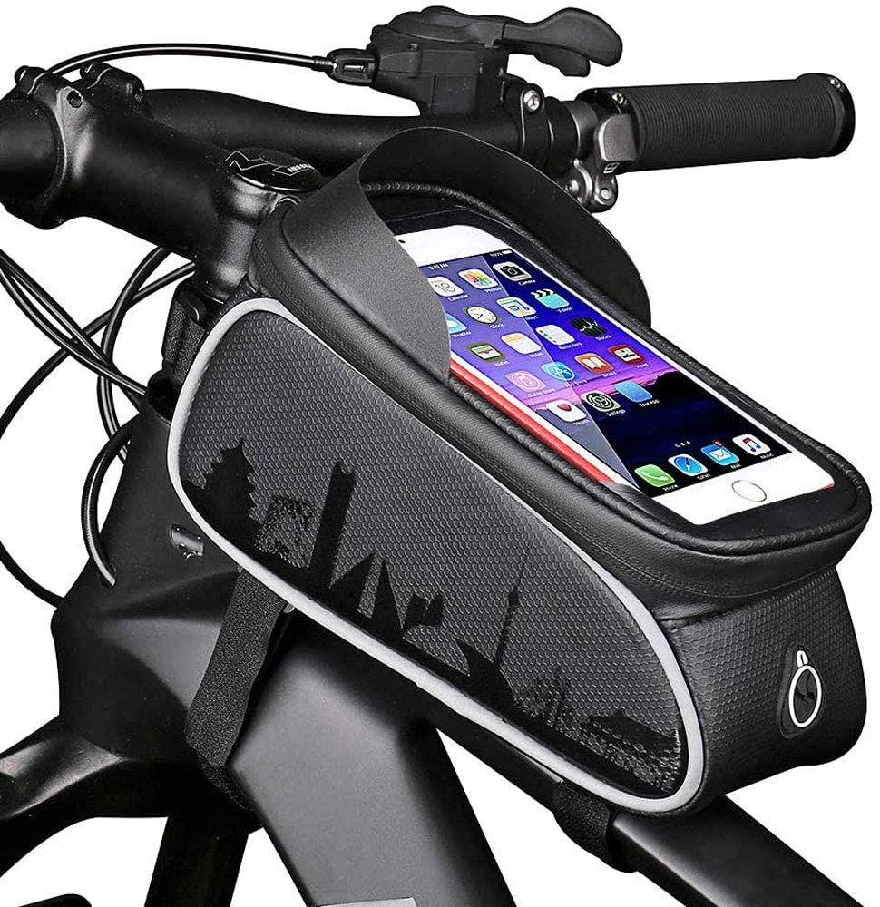 Gnohnay Bike Frame Bag, Bicycle Phone Mount Bag Waterproof Bike Front Frame Tube Handlebar Bag Large Capacity with Touch Screen Phone Case Fit for iPhone/Huawei/Samsung