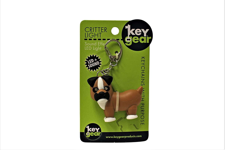 KeyGear Boxer Dog Keychain Ring Carabiner with Mini LED Flash Light & Fun Sound Effect