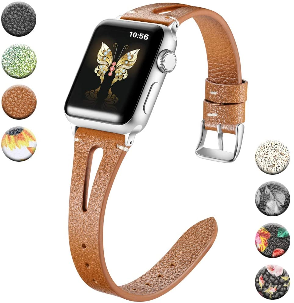Haveda Compatible with Apple Watch Band 40mm series 5 Series 4, Premium Leather Bands for iWatch 38mm womens, Apple Watch 40mm Series 4 band 38mm Series3/2/11, Slim Feminine Brown