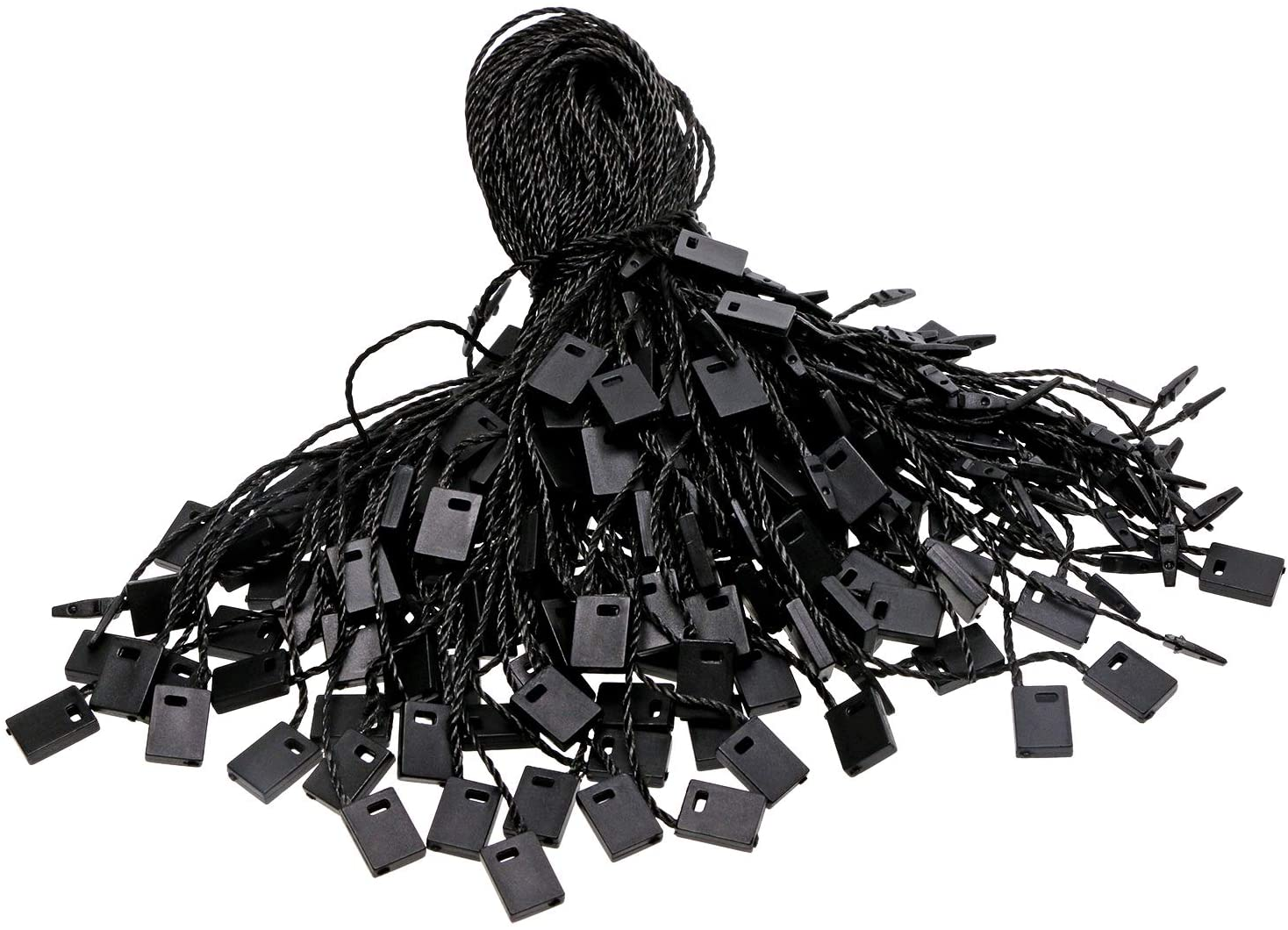 Tupalizy 7 Inch Nylon Hang Tag String for Clothes Gift Bags Price Tags Shoes Snap Lock Pin Loop Fastener Hook Ties Tag Rope for Belts Pocket Squares Luggage Label Attachment, 120PCS (Black)