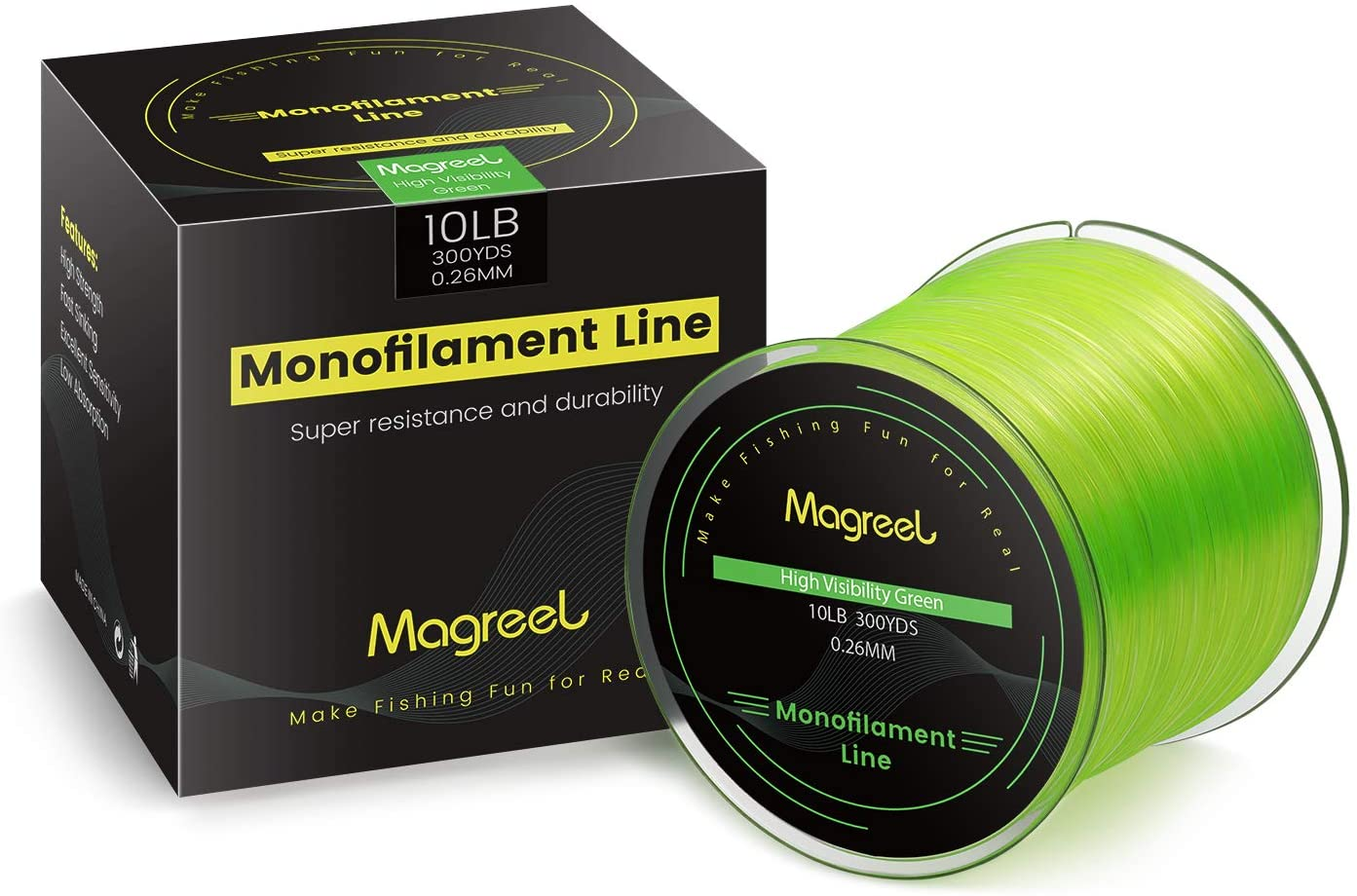 Magreel Monofilament Fishing Line Abrasion Resistant Leader Line Strong Nylon Material Fishing Line Ice Fishing Line, 6LB-30LB, 300Yds