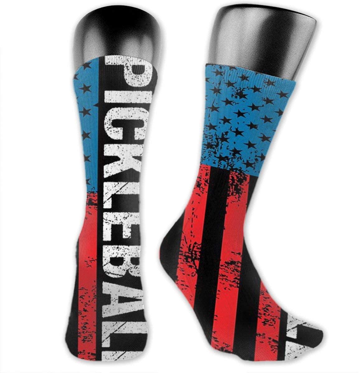 USA Flag Pickleball Unisex Outdoor Long Socks Sport Athletic Crew Socks Stockings