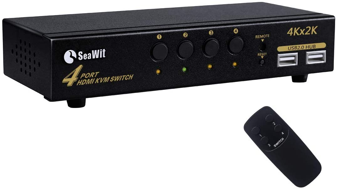Sea Wit 4 Port HDMI KVM Switch, 2020 Upgrade Supports 4K 1080P EDID 3D Auto Scan and Remote Control with 4 USB A-B Cables - 4 in 1 Out