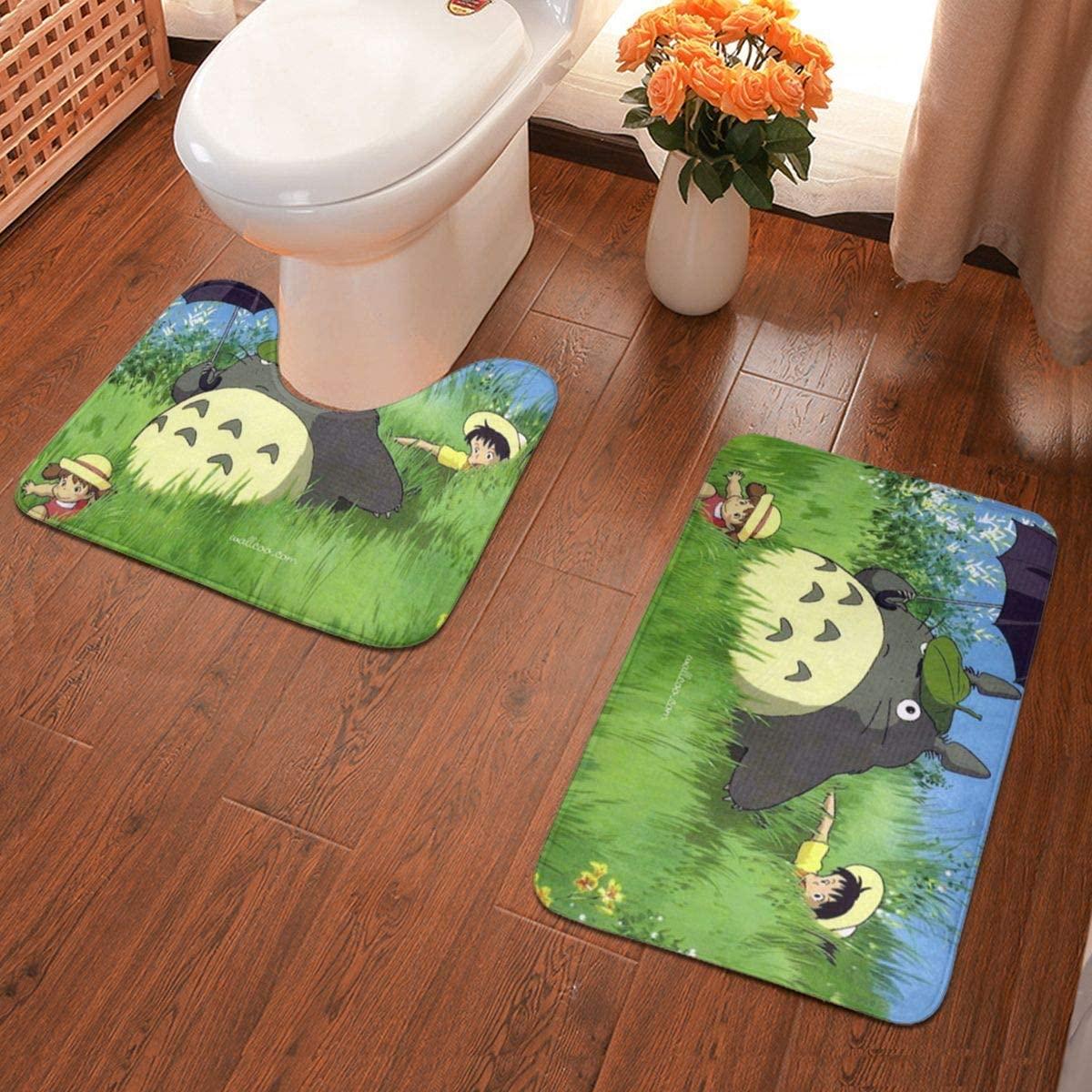 Ghibli,My Neighbor Totoro Bathroom Rug Mats Set 2 Piece Anti-Skid Pads Bath Mat