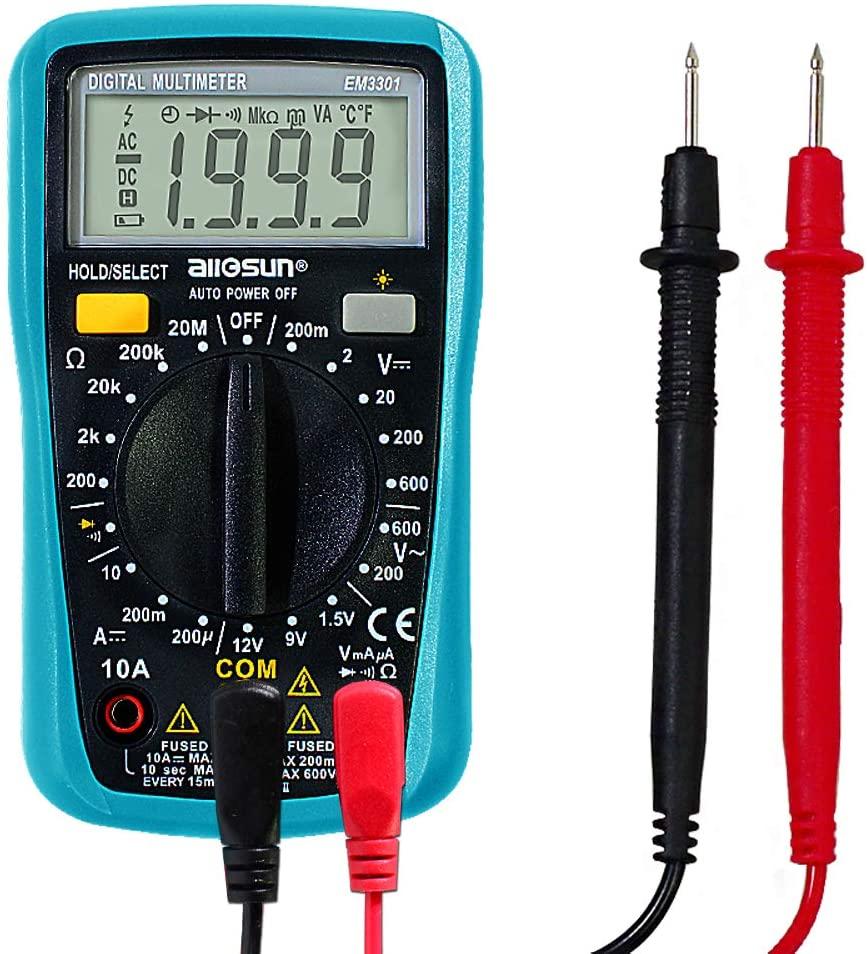ALLOSUN Digital Multimeter Automotive Multimeter Battery Tester 1999 counts AC DC Voltage DC Current ohm Tester With Backlight (EM3301)