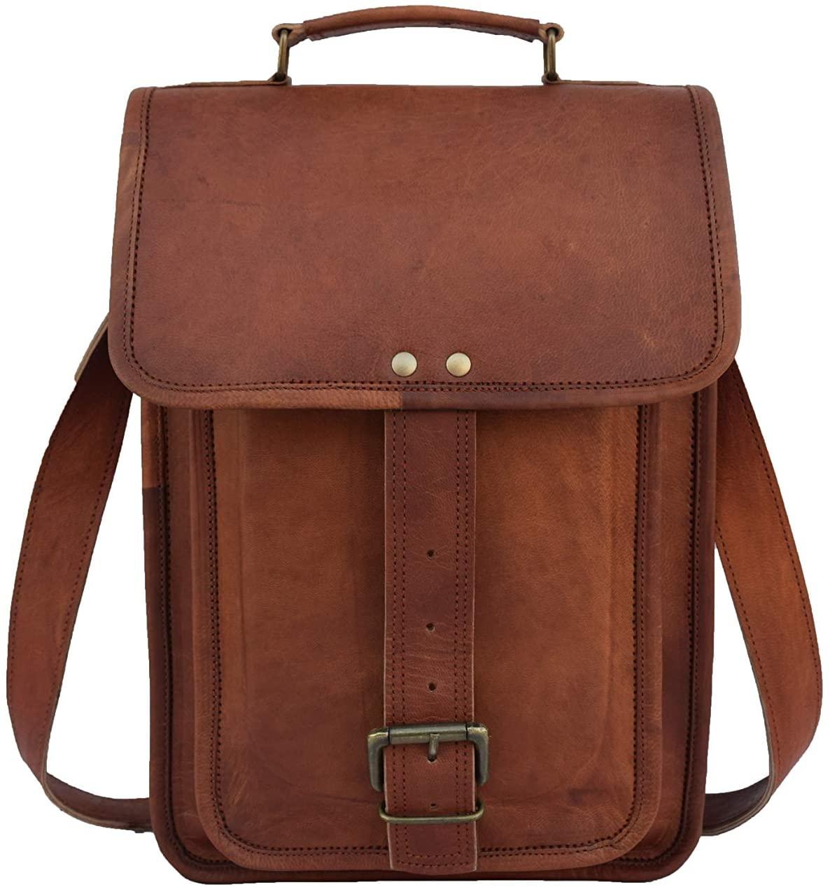 Vintage Leather Crossbody Messenger Bag 13 Inch MacBook/Laptop Satchel Shoulder Bag Unisex