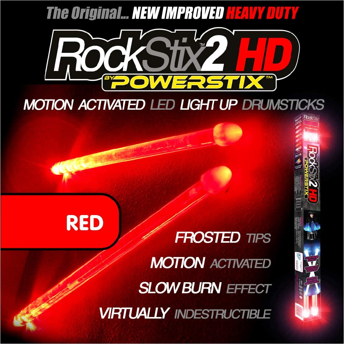 ROCKSTIX 2 HD RED, BRIGHT LED LIGHT UP DRUMSTICKS, with fade effect, Set your gig on fire! (RED ROCKSTIX)