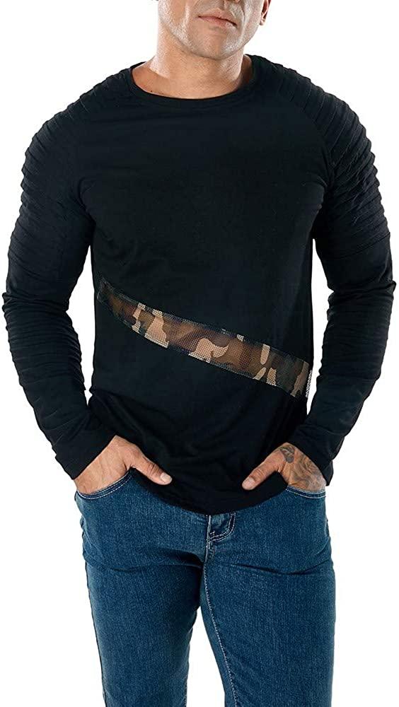 WINJUD Men's Sweatshirts Casual Mesh Patchwork Blouse Slim Pollover Top Long Sleeve T Shirt(,)