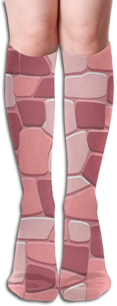 Stone Wall Background in,Design Elastic Blend Long Socks Compression Knee High Socks (50cm) for Sports