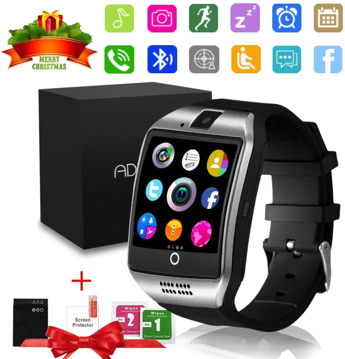 Smart Watch,Bluetooth SmartWatch with Camera Touchscreen,Smart Watches Waterproof Unlocked Phones Watch with SIM Card Slot,SmartWatches Compatible with Android Phone XS 8 7 6 Samsung (Silver -Q18)