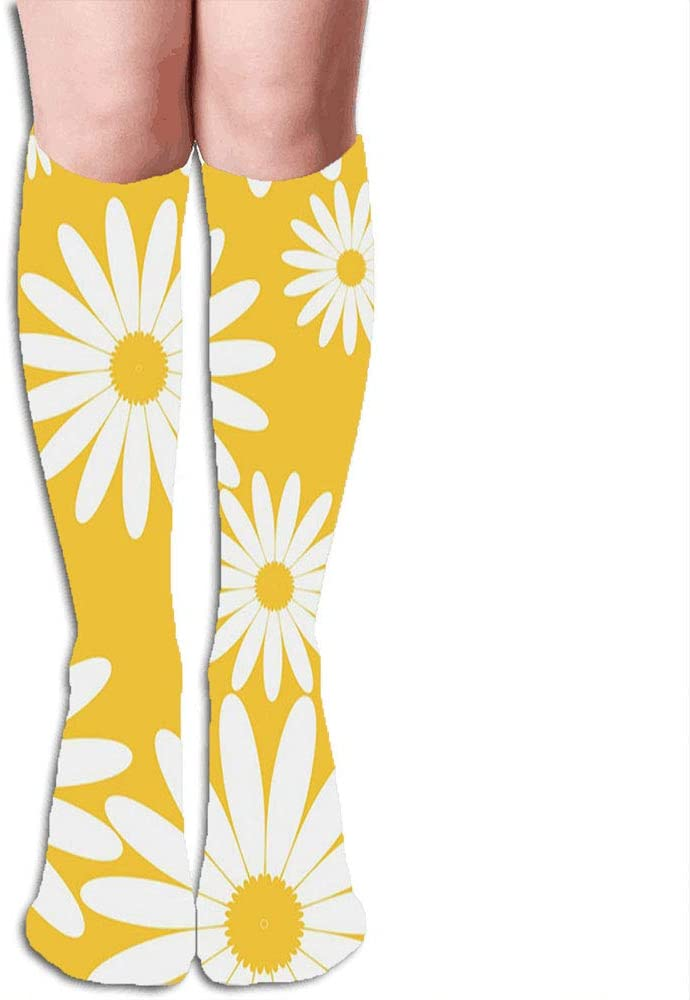 White Daisies On Daisy Compression Socks for Men & Women Graduated Compression - Medical Grade for Varicose Veins, Edema, Severe Swelling in Feet & Legs 19.68 Inch