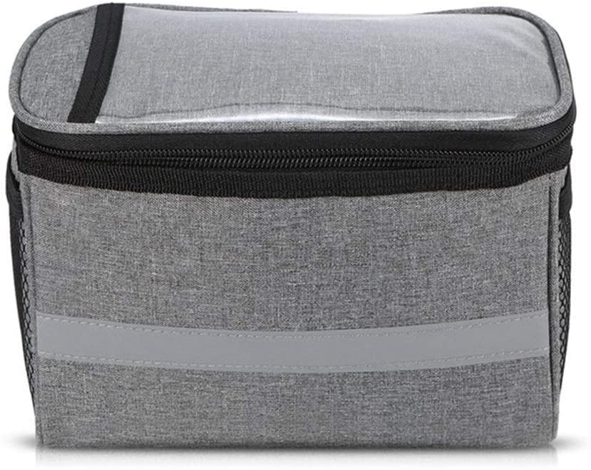 Insulated Front Pockets for Bicycles, Handlebar Bags for Mountain Bikes, Cooler Bags for Bicycle Accessories with Reflective Strips Strong and Beautiful, can be Used as a Gift (Color : Light Grey)