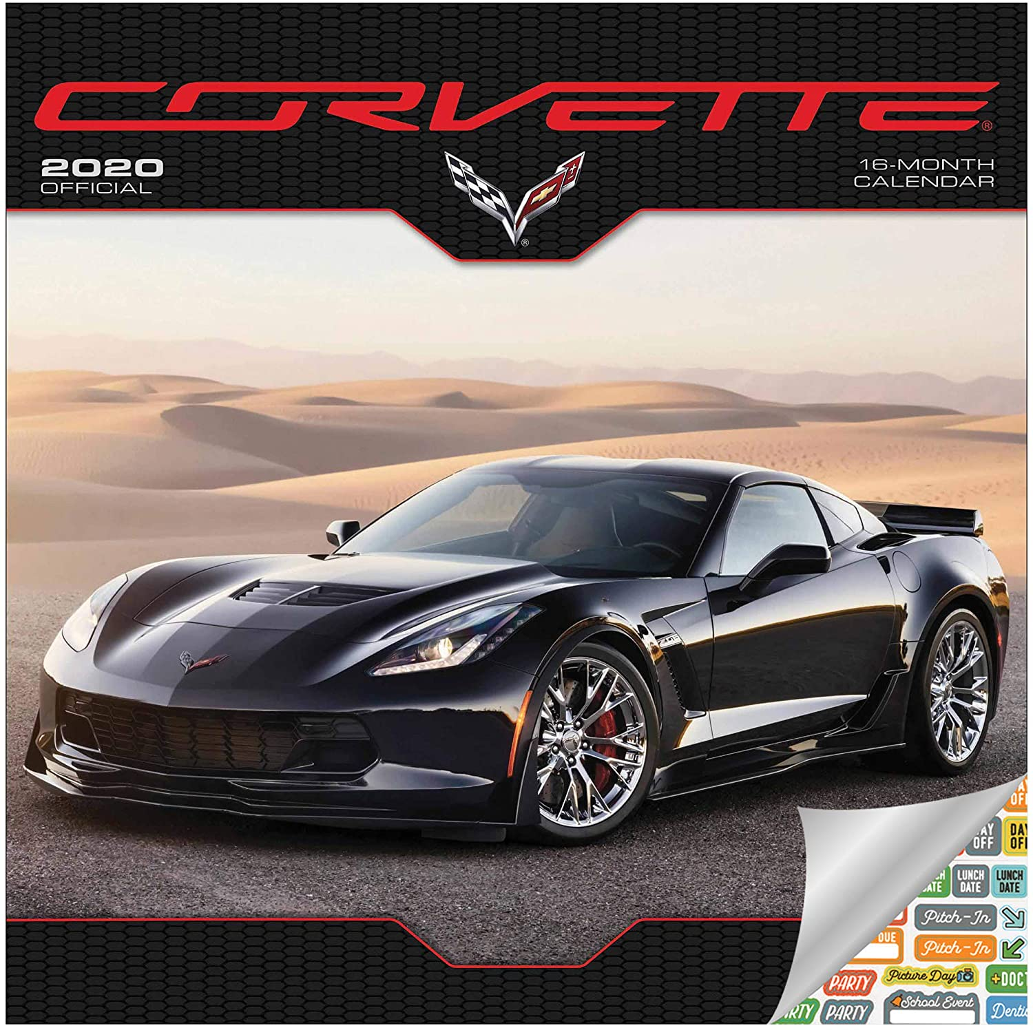 Corvette Calendar 2020 Set - Deluxe 2020 Corvette Wall Calendar with Over 100 Calendar Stickers (Corvette Gifts, Office Supplies)