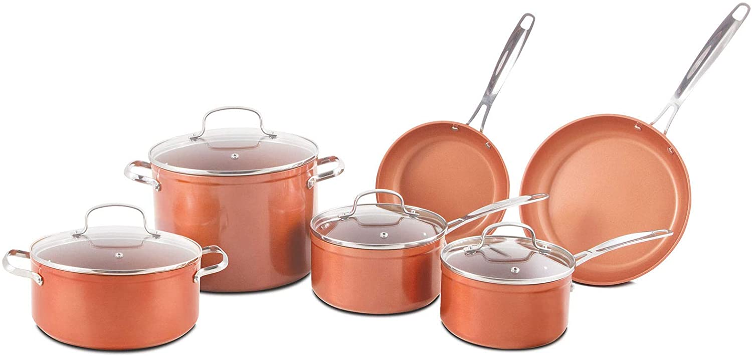 MRT SUPPLY Aluminum & Stainless Steel Non Stick Ceramic Pots & Pans Cookware Set with Ebook