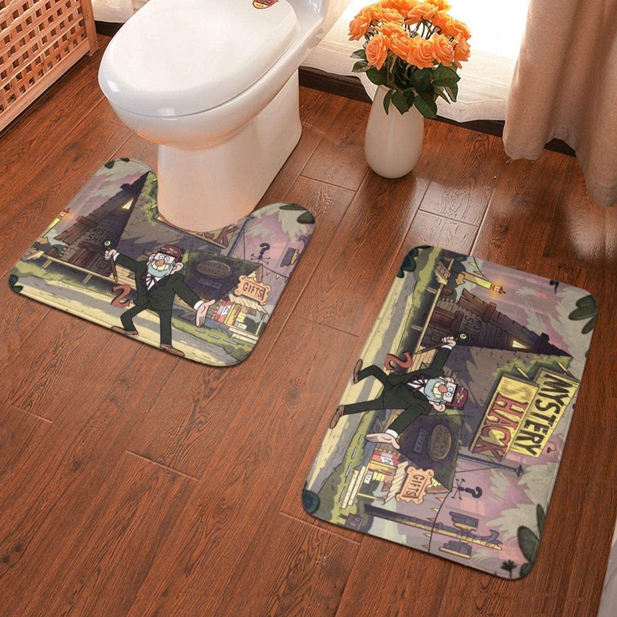 Boweike Gravity Falls Bathroom Antiskid Pad Non-Slip Bath Carpet Floor Mat Rug 2 Sets -Floor Mat+U-Shaped Pad, Toilet Washable Blanket Mats for Bathroom Home Shower
