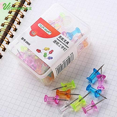 Clips 50 pcs/lot Color Thumbtacks Push Pins Map Pin Cork Board Thumb Tacks Pushpin Stationery Buttons Pins Office School Supplies - (Color: Design 1)