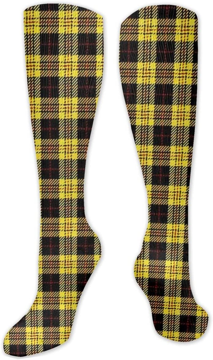 Compression Sock for Women & Men,Black, Yellow and Red Plaid Casual Long Knee High Tube Socks for Runnning, Soccer Athletic Sports,Travel -50cm