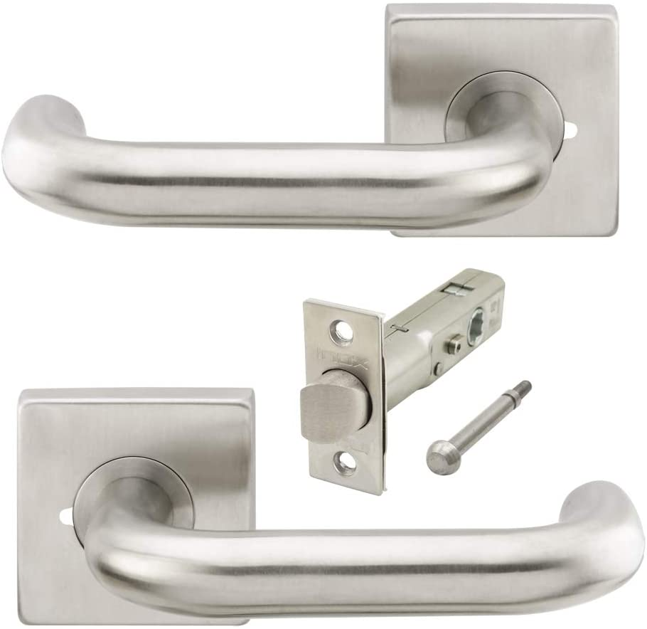 INOX SE102L462-32D-AM SE102 Munich Tubular Lever Privacy Lockset with SE Rosette and 28-Degree TL4 Latch, 2-3/8-Inch Backset, MicroArmor Anti-Microbial Coating/Satin Stainless Steel