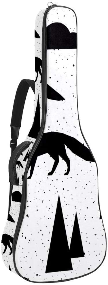 Abstract Animal Forest Fox Guitar Carrying Case with 2 Pockets Guitar Bag Shoulder Strap