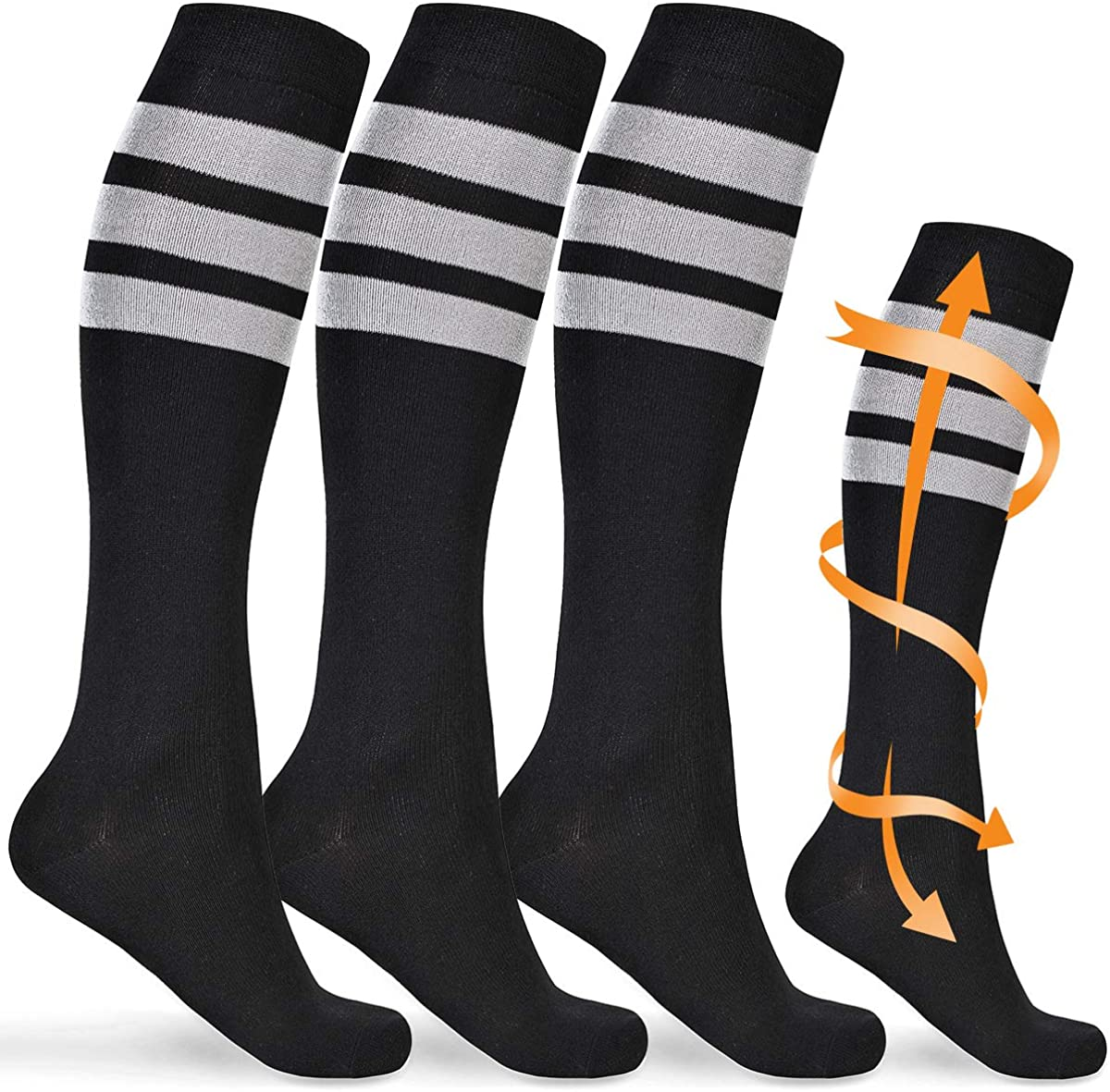 Compression Socks Women Men Circulation 15-20mmHg Black Knee High Socks Tall Long Socks for Nurses Maternity Golf