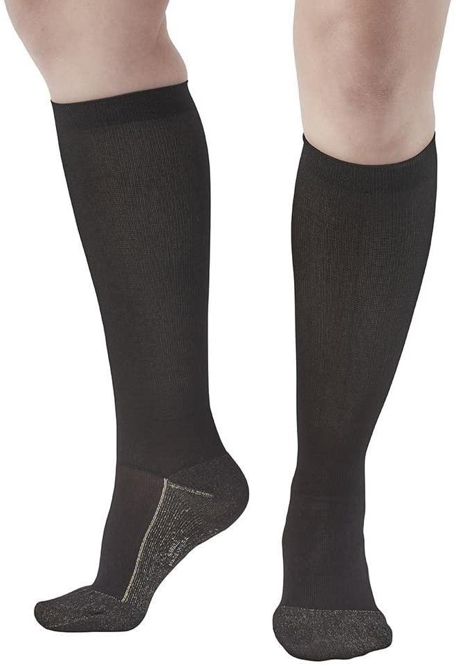 Ames Walker AW Style 136C Womens Copper Sole 20 30mmHg Knee High Socks Black