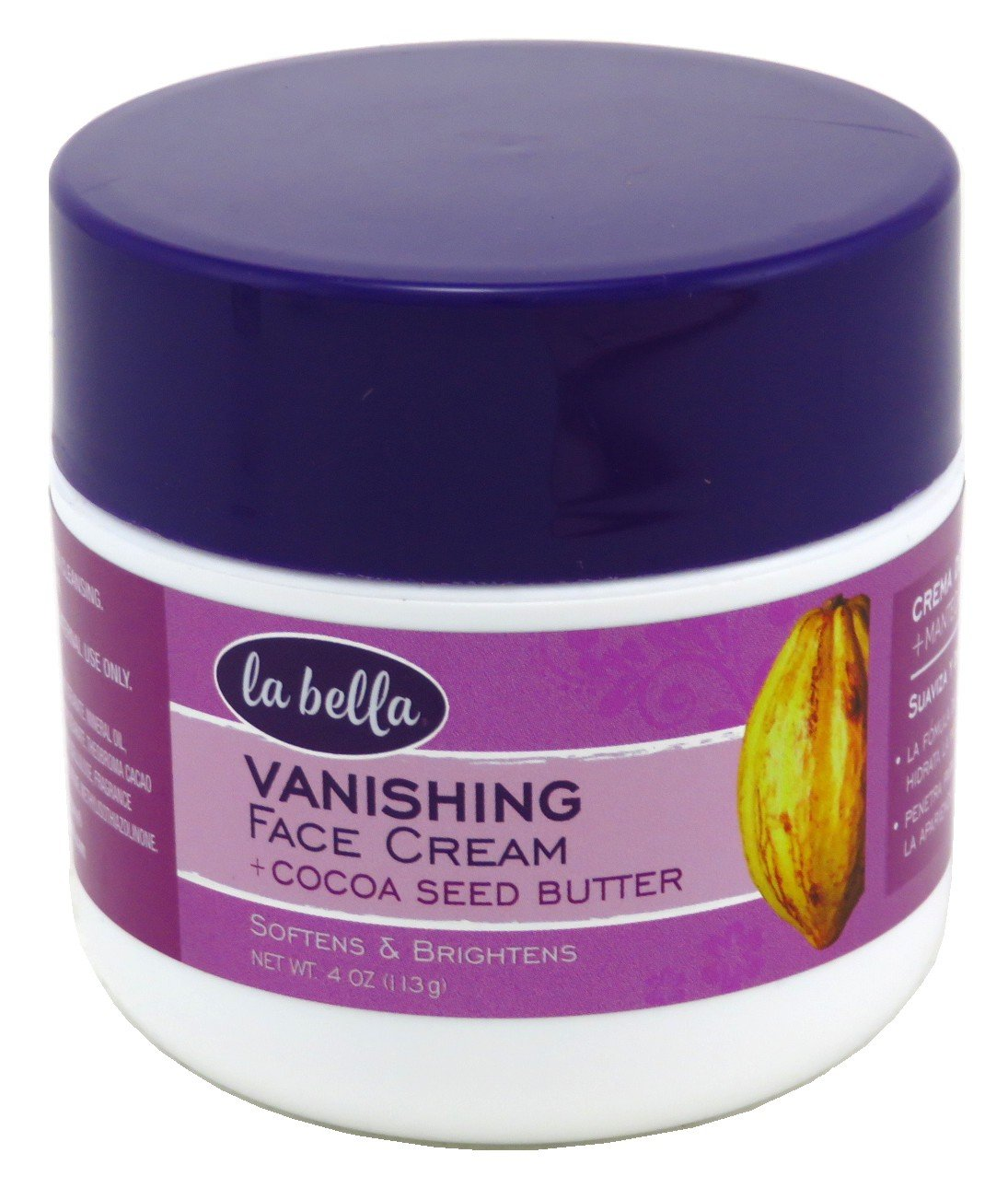 La Bella Vanishing Cream With Cocoa Seed Butter 4 Ounce