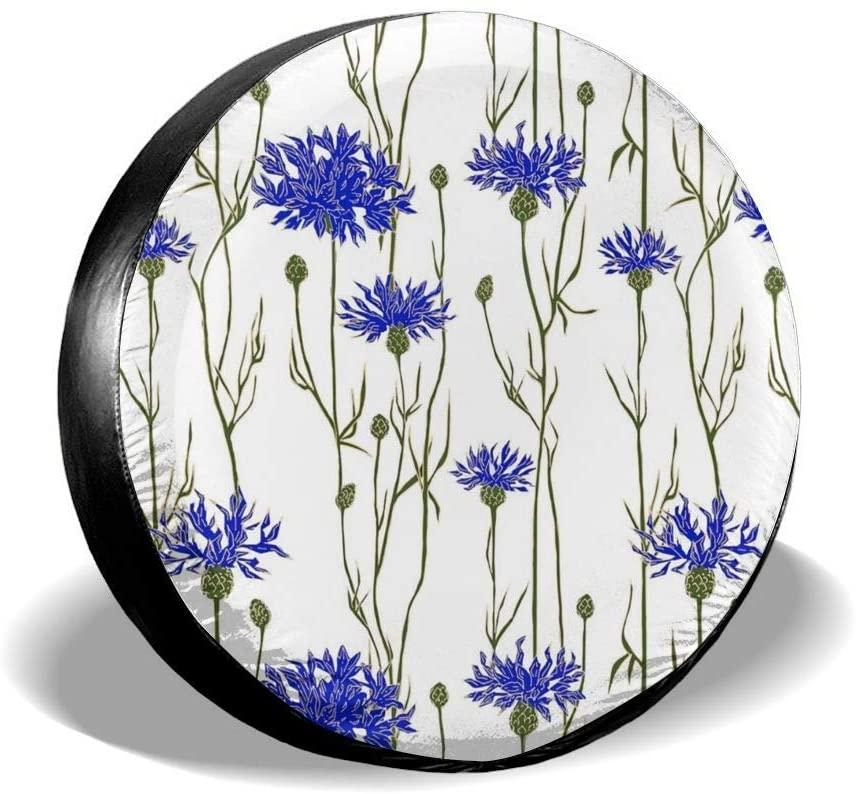 Bomini Spare Tire Covers Blue Flowers Leaves Wheel Waterproof SUV Campers Travel Rv Bus Accessories Diameter 23.6