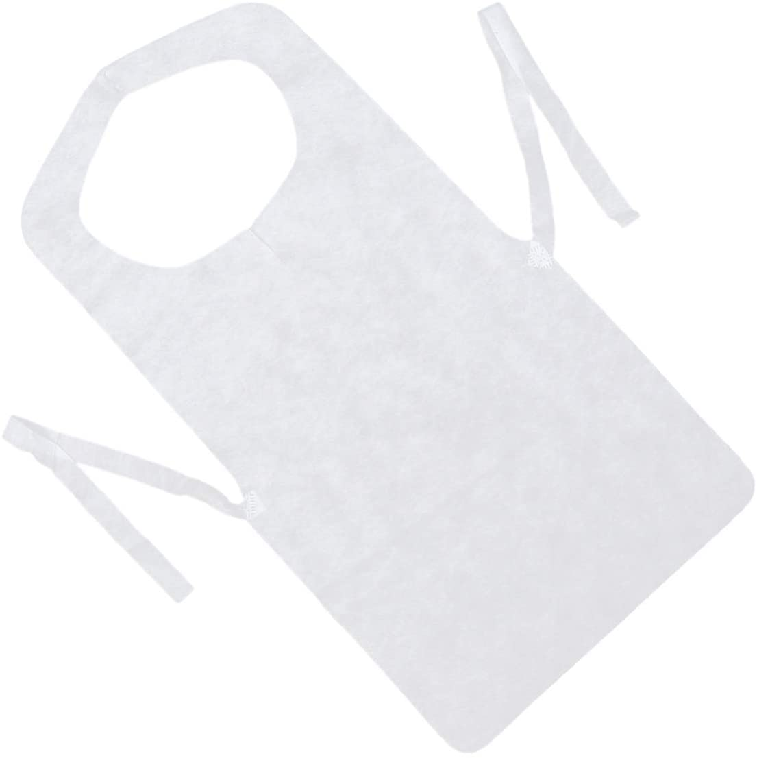 Garneck 50pcs Disposable Aprons Nonwovens Kitchen Cooking Aprons Chef Bib Cloth Protector For Gardening Painting Hairdressing 73x40cm (White)