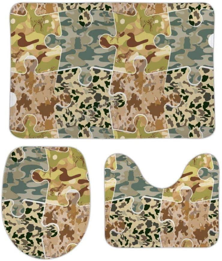 Bathroom Bath Mat 3 Piece Set Camouflage Stitching Non-Slip Pedestal Rug + Lid Toilet Cover + Bath Mat Set